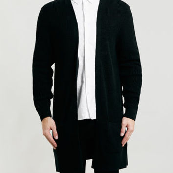 BLACK LONG LINE DUSTER CARDIGAN - Men's from TOPMAN