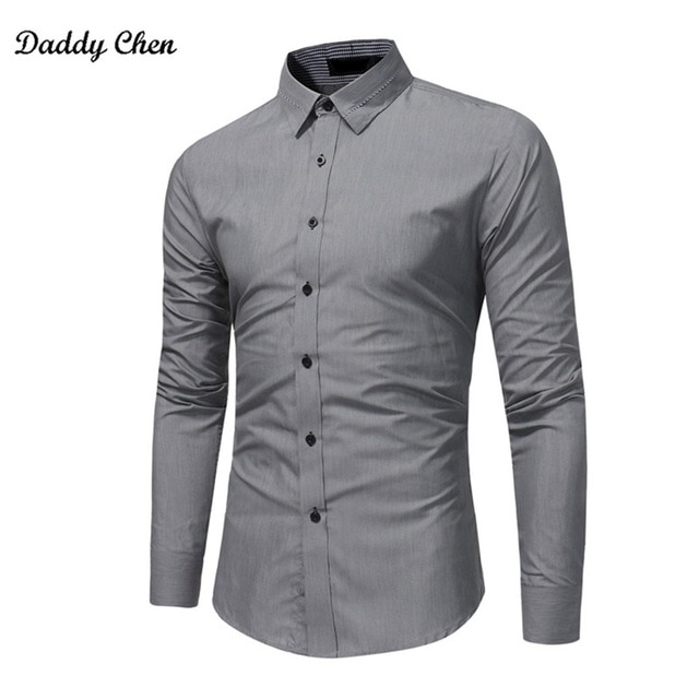2018 brand Formal shirt men fashion slim fit Solid gray black men's