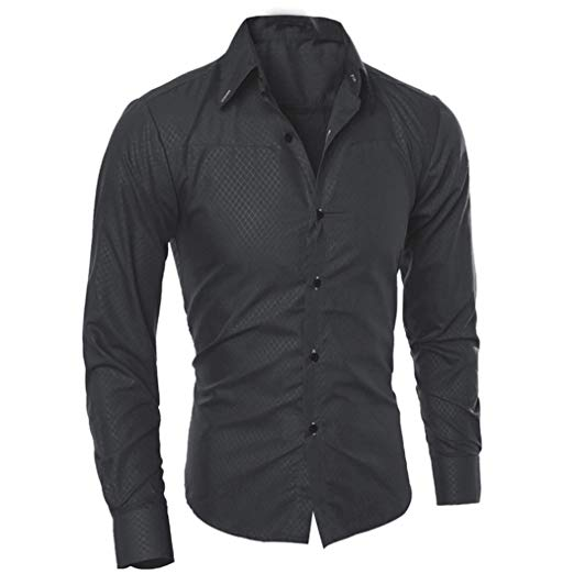 Easytoy Mens Classic Slim Fit Shirts Breathable Long Sleeve Button
