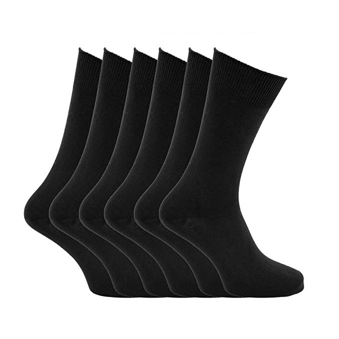 Mens plain 100% cotton socks (Pack of 6) (US Shoe 6.5 - 11.5) (Black
