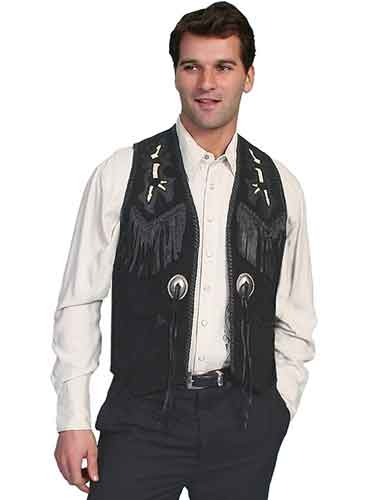 Scully Boar Suede Bead-Trimmed Western Vest - Black - Men's Leather