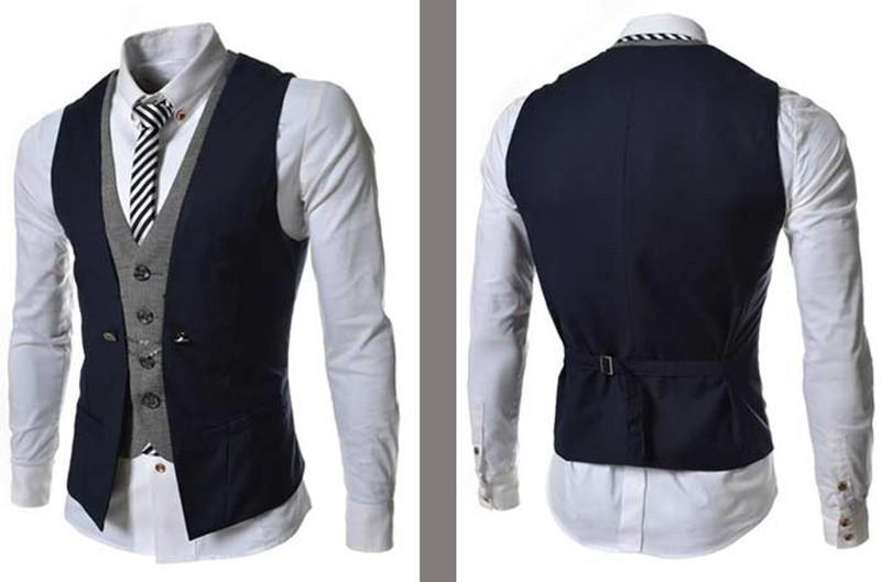Simple Fashion Men Black Mens Vest European And American Style Mens