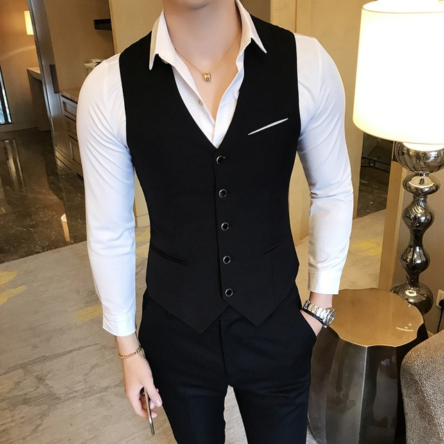 Classic Black Men Waistcoat Single Breasted Dress Slim Suit Vest