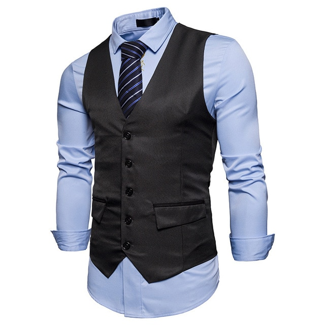 New Men Vest Black Gray Blazer Collar Sleeveless Suit Fashion Vests