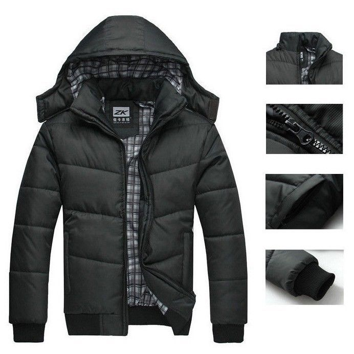 Men's winter Hoodies Quilted Jacket Warm Fashion Male Puffer