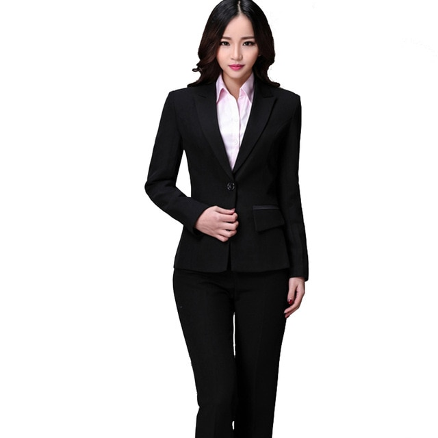 2015 Autumn Winter Formal Office Uniform Women Pant Suits Blazer Set