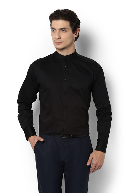 V Dot Shirts, Van Heusen Black Shirt for Men at Planetfashion.in