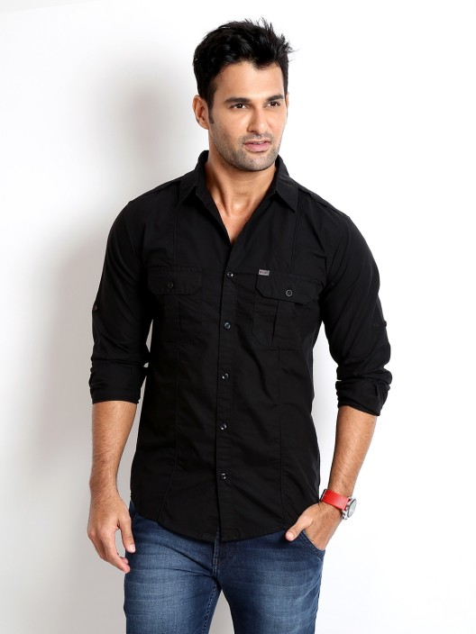 Rodid Men's Solid Casual Black Shirt - Buy Jet Black Rodid Men's