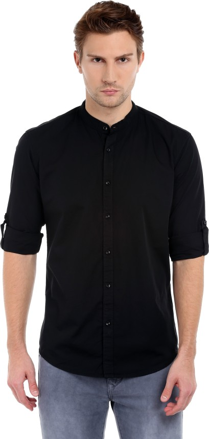 Dennis Lingo Men's Solid Casual Black Shirt - Buy Black Dennis Lingo