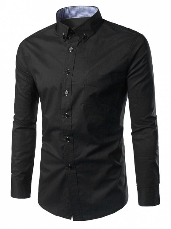 15% OFF] 2019 Slim Fit Button Down Casual Shirt In BLACK M | ZAFUL