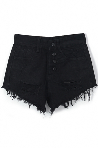 Black Denim Four Button Front Ripped Shorts - takeluckhome.com