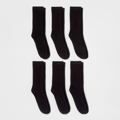 Women's 6pk Crew Socks - A New Day™ Black One Size : Target