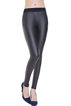 Everbellus Black Faux Leather Leggings for Women Stretch Leather