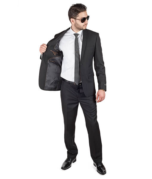 Slim Fit Men Solid Jet Black Suit - Azar Suits