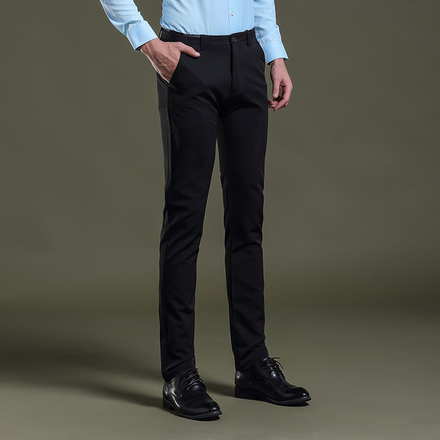 Mens Black Dress Pants Formal Pants Slim Fit Wedding Men Black Suit
