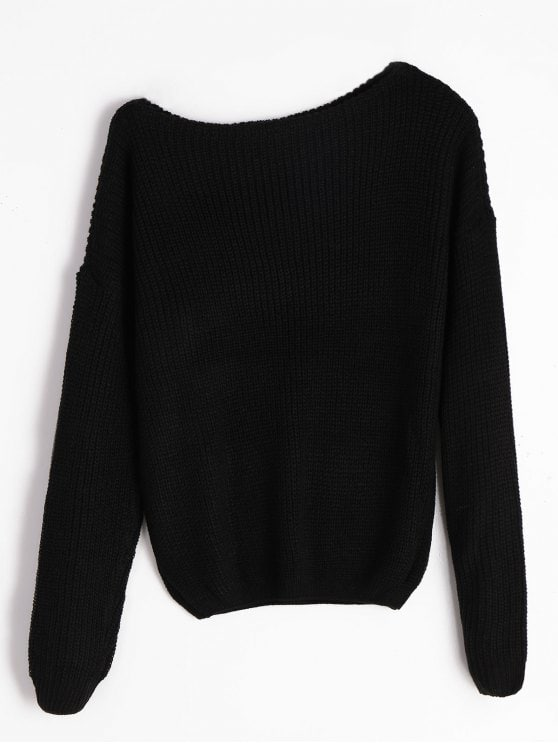 25% OFF] 2019 Knitted Skew Neck Sweater In BLACK S | ZAFUL