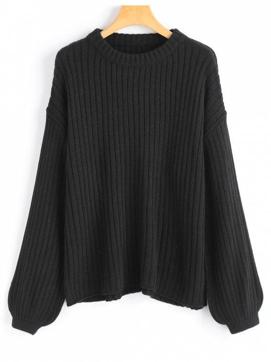 39% OFF] 2019 Lantern Sleeve Oversized Pullover Sweater In BLACK ONE