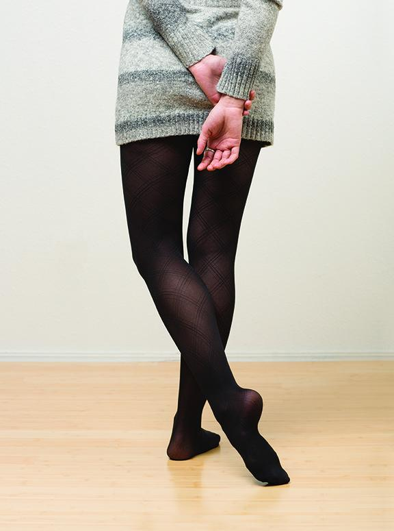 Argyle Semi-Opaque Tights: Black - VIM & VIGR
