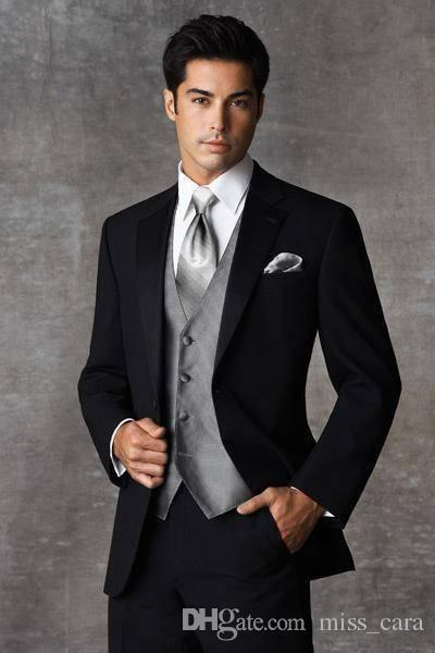 Handmade Two Buttons Mens Suits Black Tuxedos Groom Wedding Notch