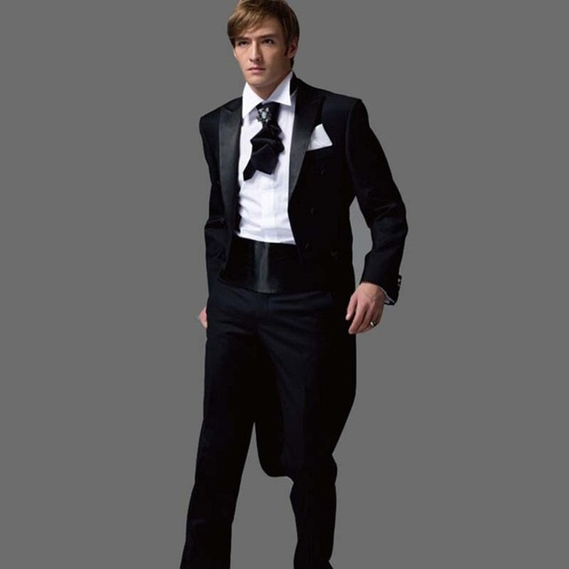 2017 new Black Tuxedos With Long Blazer Latest Coat Pant Designs