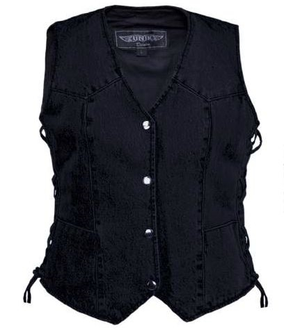 Women's Black Denim Motorcycle Vest l Concealed Carry