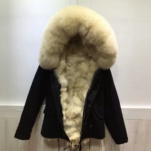 New style Mr Black winter coats beige fox fur inside jacket women