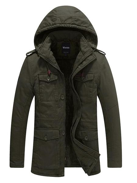 Mens Winter Coats Parka Utility Jacket with Hood Slim Fit u2013 Wantdo