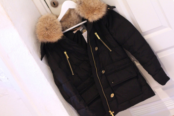 jacket, michael kors, fur, black, winter outfits, winter jacket