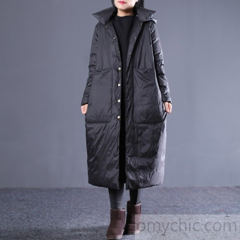 New black winter down coat plus size hooded quilted coat thick Large