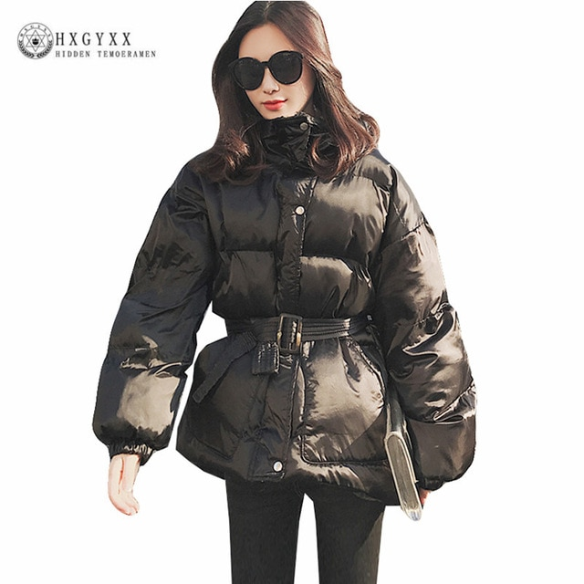 Black Winter Jacket Women Parka Female Belt Cotton Warm Outwear