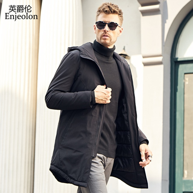 Enjeolon winter long Cotton Padded Jacket coat Men black Parka