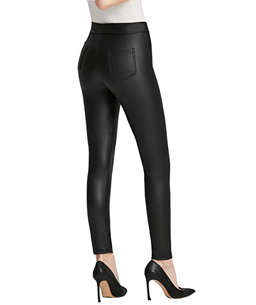 Everbellus Women Sexy Faux Leather Leggings with Pockets Skinny