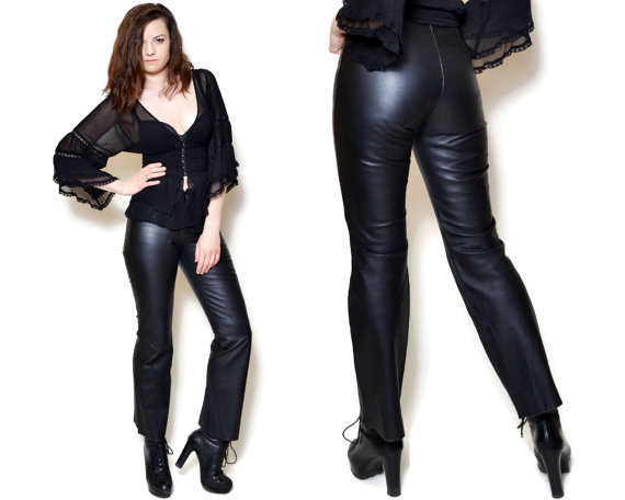 Arrow Leather Pants Black pants Women Clothing Black leather