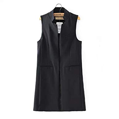 MRxcff Women Vest Waistcoat Long Women'S Sleeveless Vest Black White