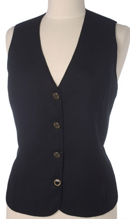 Black Wool Longer Ladies Buttoned V Neck Ladies Business Vest