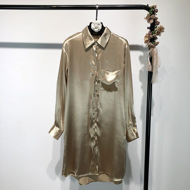 2019 Spring Fashion Streetwear Metallic Satin Shirt Dress Women
