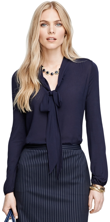 Brooks Brothers Bow Front Blouse, $188 | Brooks Brothers | Lookastic.com