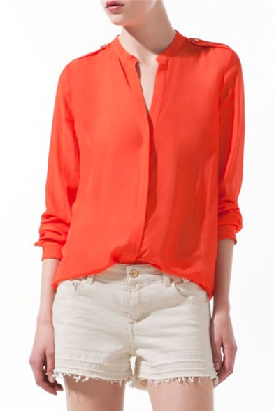 Orange Long Sleeve Stand-Up Collar Blouse - Beautifulhalo.com