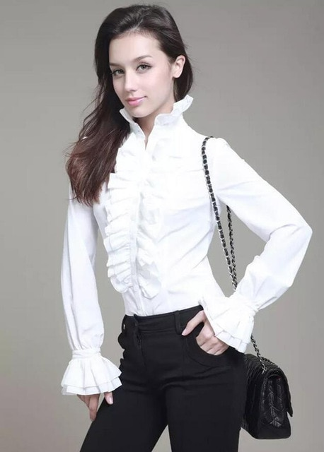 Women Retro Stand Up Collar Lotus Ruffle Victoria Shirts Blouse