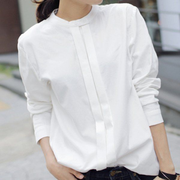 Simple Stand-Up Collar Solid Color Long Sleeve Women's Blouse in