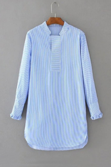 Stand-Up Collar Long Sleeve Vertical Striped Print High Low Hem
