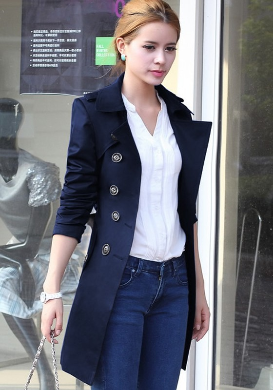 Navy Blue Plain Epaulet Double Breasted Trench Coat - Outerwears - Tops