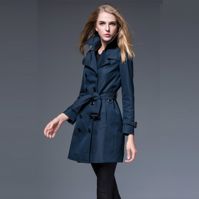 Women's New Coats Spring Autumn Navy blue Middle Trench Coat Slim