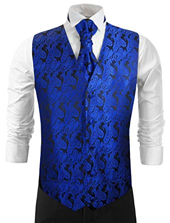 Royal Blue Paisley Wedding Vest with Tie, Cravat, Pocket Square and