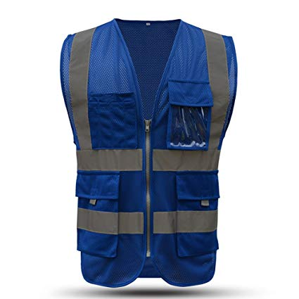 Blue Safety Vest Reflective With Pockets And Zipper|High Visibility