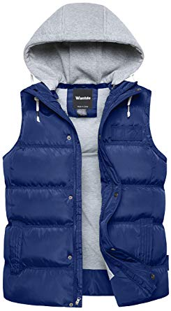 Wantdo Men's Winter Puffer Vest Removable Hooded Quilted Warm