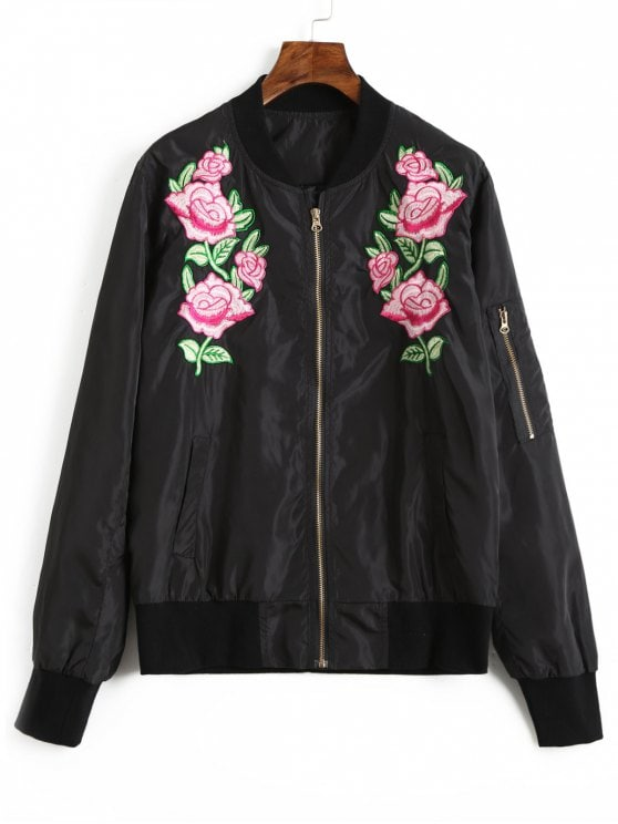 55% OFF] 2019 Floral Embroidered Bomber Jacket In BLACK M | ZAFUL