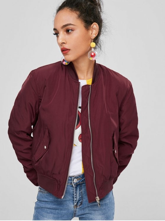 32% OFF] 2019 Zip Up Bomber Quilted Jacket In RED WINE S | ZAFUL
