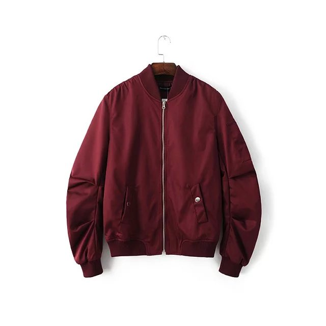 2018 Spring Autumn Mens Solid Flight Wine Red Bomber Jacket Men's