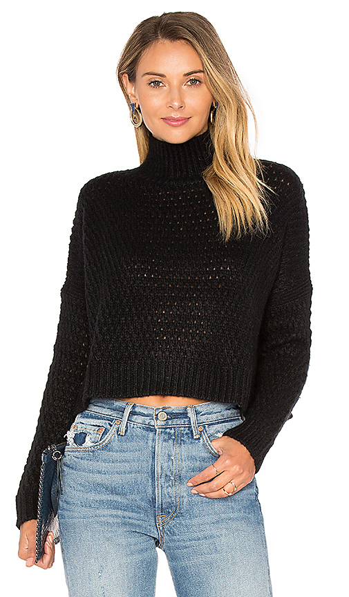 Autumn Cashmere Boxy Mock Neck Crop Sweater in Black | REVOLVE